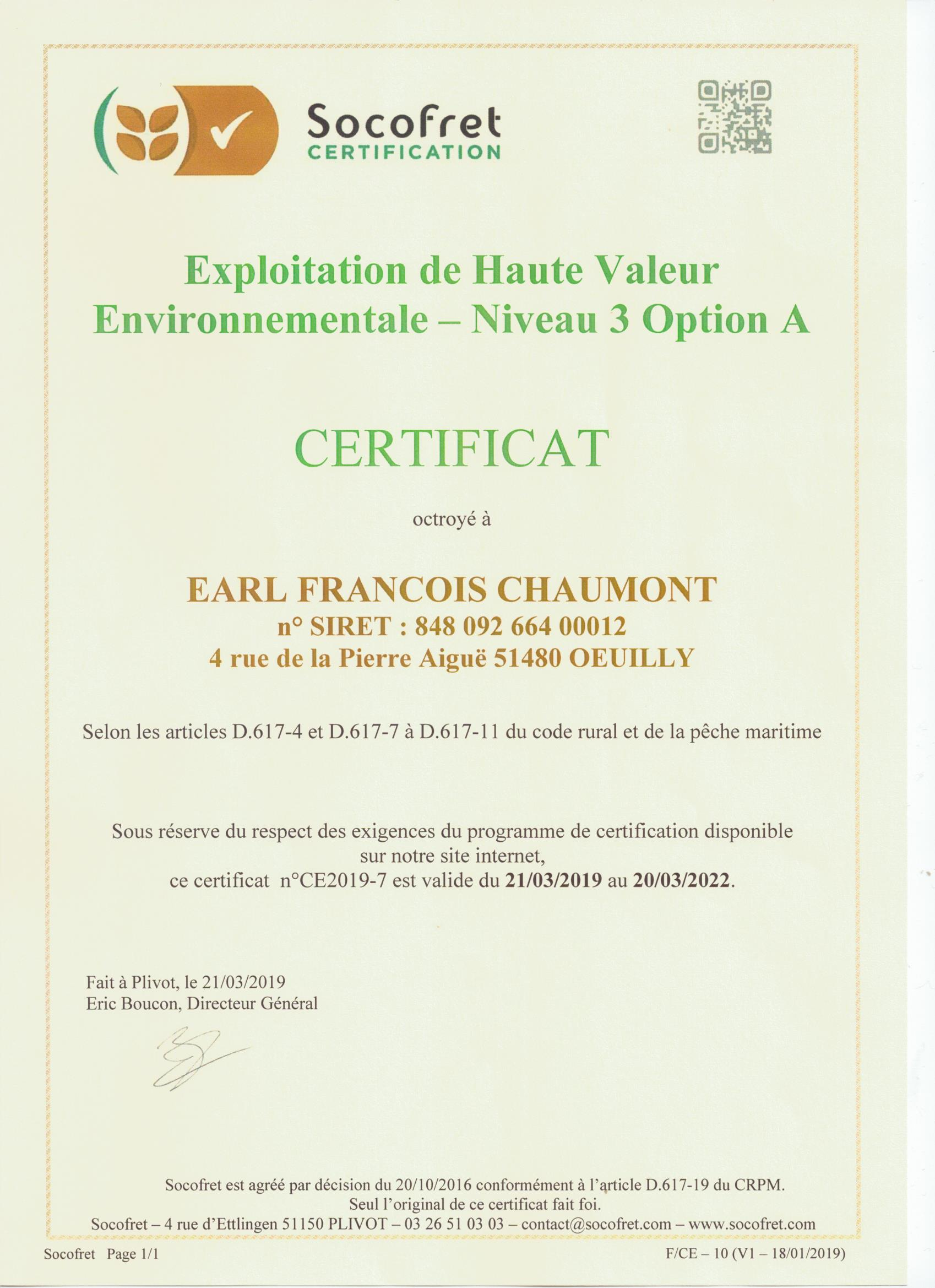 CERTIFICATION HVE 3
